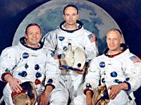 Участники экспедиции на Луну Аполлон-11 Нил Армстронг, Эдвин Олдрин и Майкл Коллинз